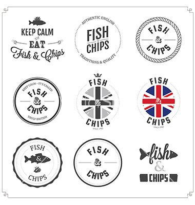 fish and chips labels and badges vector by ivanbaranov on VectorStock®