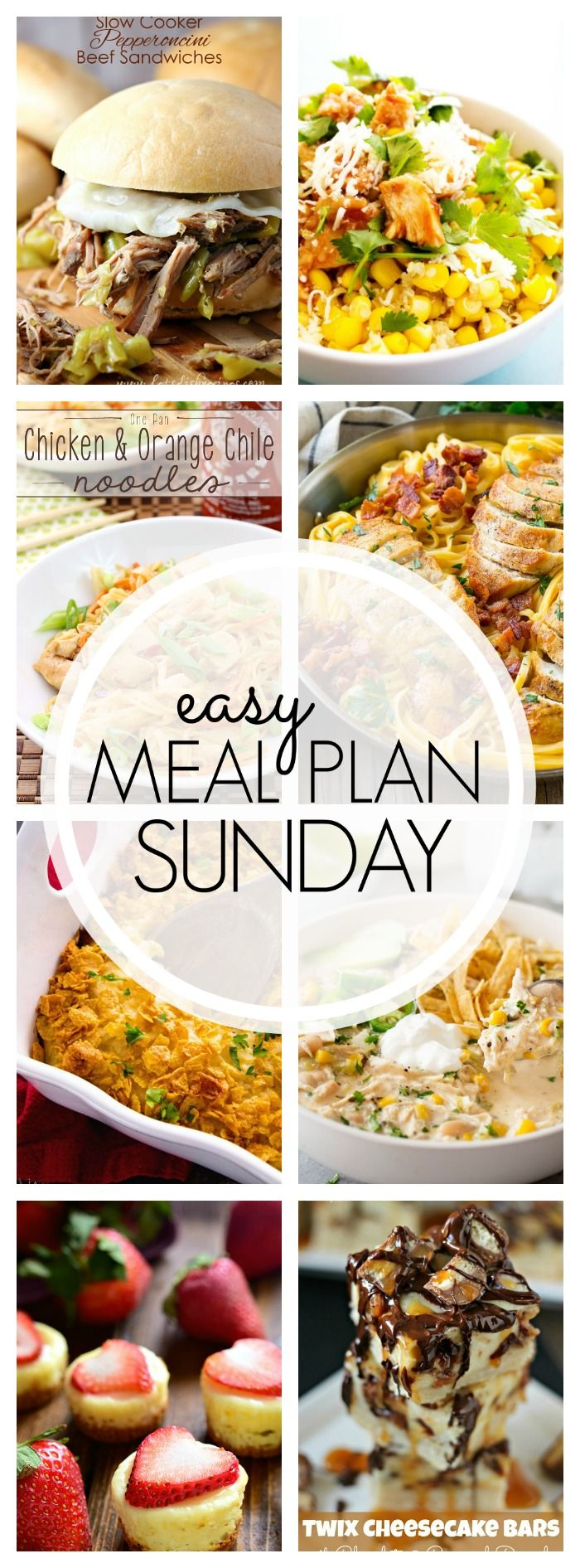 With Easy Meal Plan Sunday Week 87 - six dinners, two desserts, a breakfast and a healthy menu option will help get the week's meal planning done quickly!