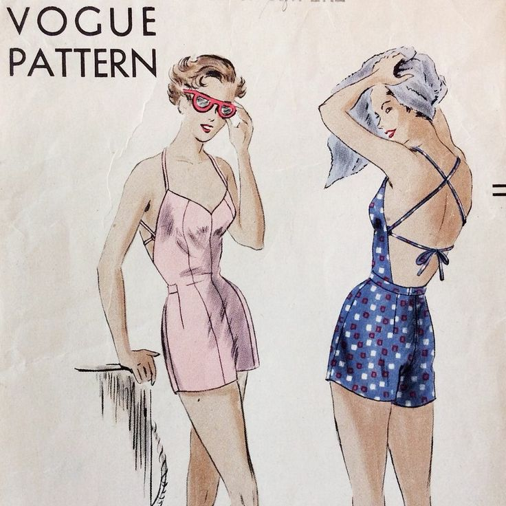 1940s PINUP Vintage Vogue STRAPPY HALTER Swim Bathing PLAY SUIT Sewing Pattern