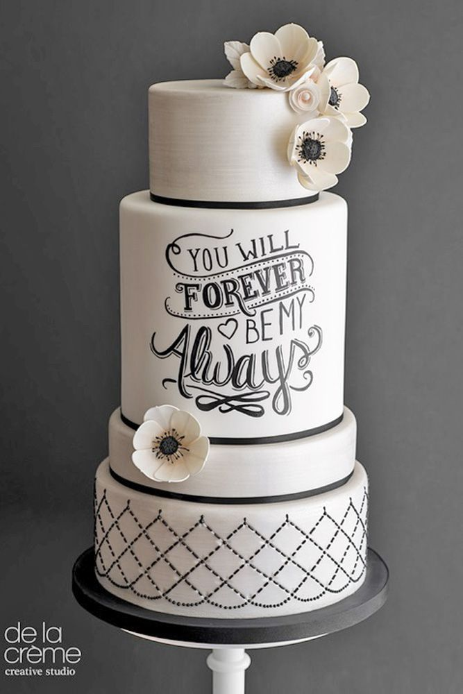 18 Inspiring Ideas For Black And White Wedding Cakes ❤ Black and white wedding cakes are never go out of style. It is always exquisitely and yet timeless. See more: http://www.weddingforward.com/black-and-white-wedding-cakes/ #wedding #cakes