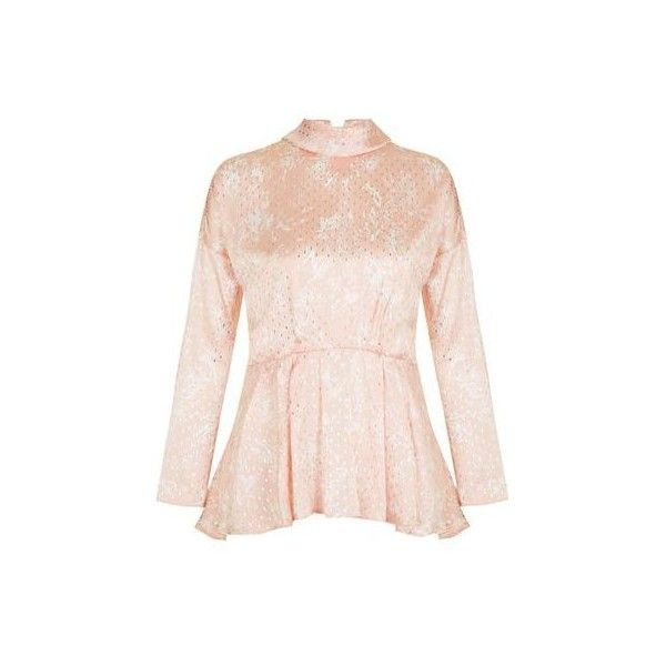 TopShop '80s Foil Spot Batwing Top ($51) ❤ liked on Polyvore featuring tops, pale pink, bat sleeve tops, polka dot tops, pink polka dot top, batwing tops and pink top