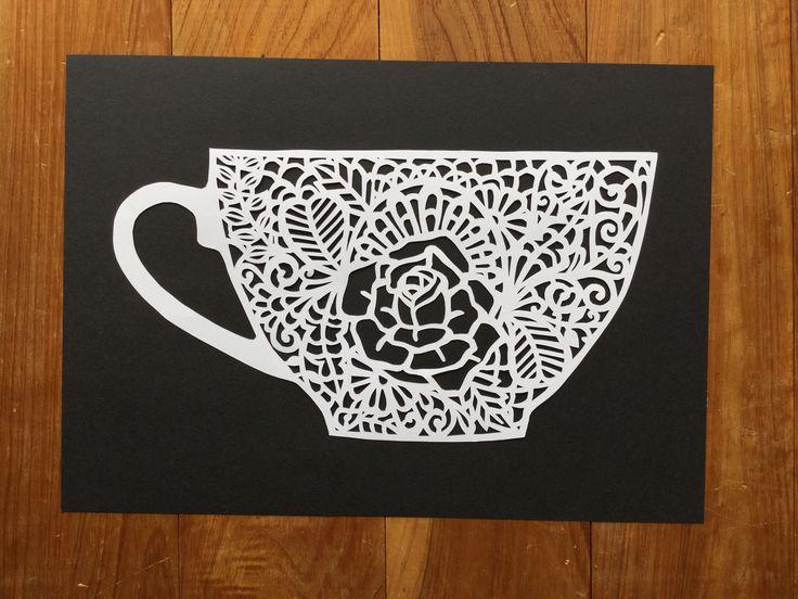Teacup paper cutting