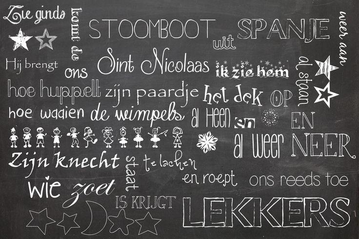"""""""krijt"""" inpakpapier Sinterklaas printable"""