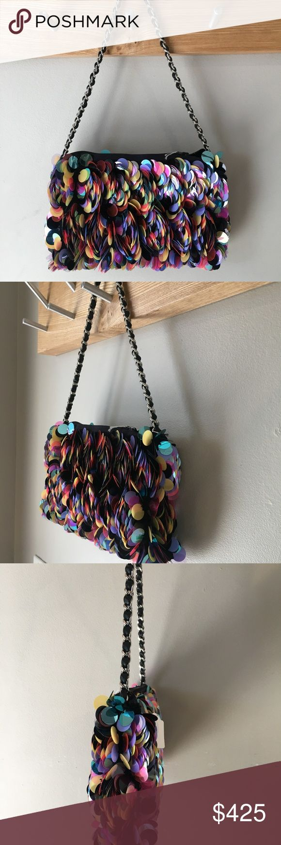 Paillete Multicolor Italian Handcrafted ONIQ solid sequenced handbag.  One of a kind. ONIQ Bags Clutches & Wristlets
