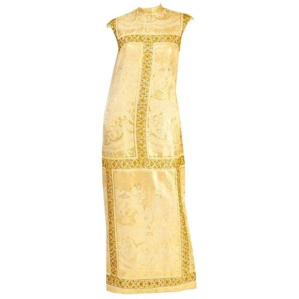 Preowned Rare 1960's Asian Print Gold Lame Brocade Gown ($495) ❤ liked on Polyvore featuring dresses, gowns, gold, gold evening dresses, vintage ball gowns, gold beaded evening gown, vintage beaded gown and gold evening gowns