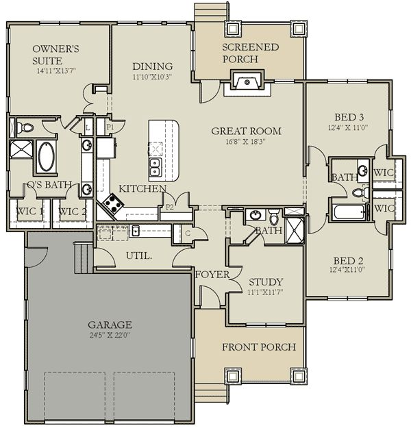 Plan W25402TF: Craftsman, Prairie Style, Northwest House Plans & Home Designs Ditch the tub, larger shower, shorter vanity, larger closet, door from laundry