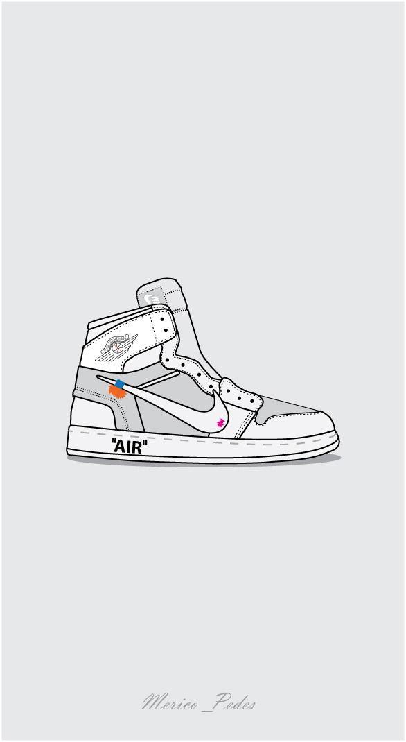 Air Jordan 1 X Off White Iphone Wallpaper Vintage Sneakers