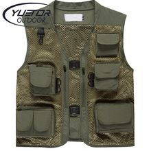 YUETOR Summer Men's Camouflage Hunting Military Tactical Vest Photography Working Wear Vest Multi-pocket Mesh Fishing Vest