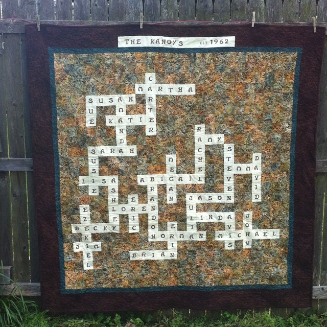 Crossword Quilt With Family Members Names Great For 50th Wedding Anniversary