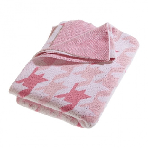 Little Bonbon Cot Blanket - Pink Houndstooth - 100% Cotton Knit available at As Your Child Grows - asyourchildgrows.com.au