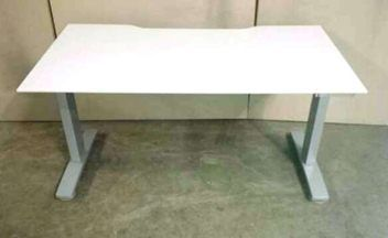 Height adjustable Zenith straight desk in light grey 25mm melteca with silver grey steel frame. $565 Trademe