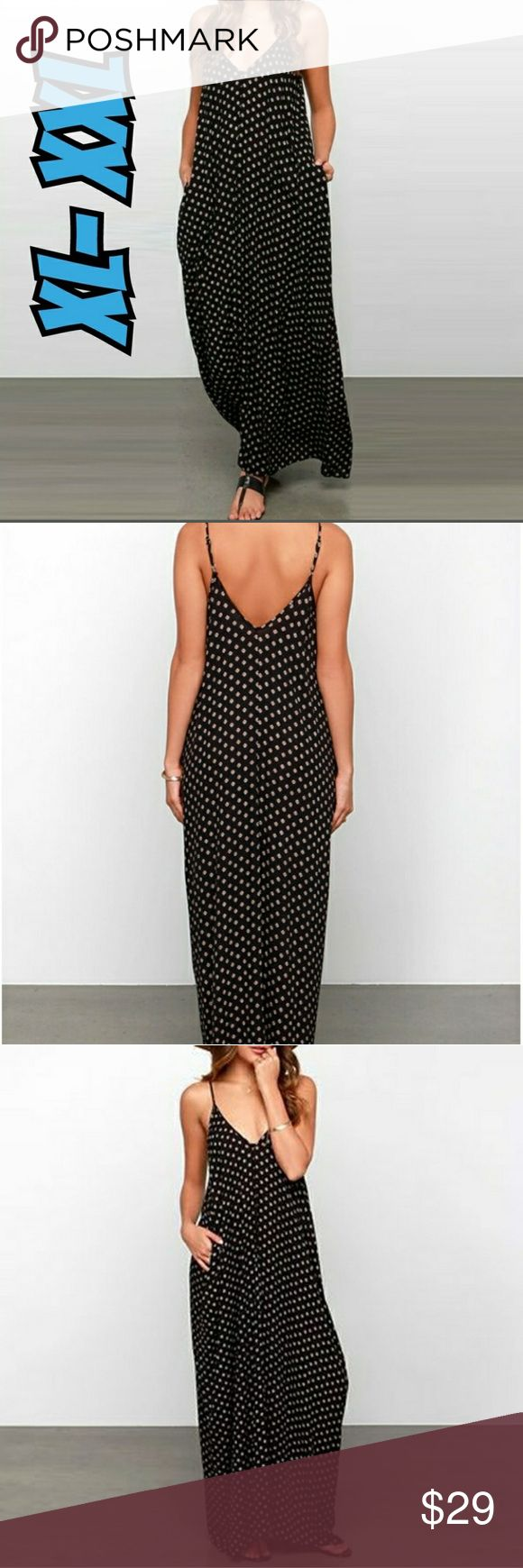 Polka Dot Plus size maxi dress Double  lined polka dot spaghetti strap maxi dress, and v neck cut and v back .. Dresses Maxi