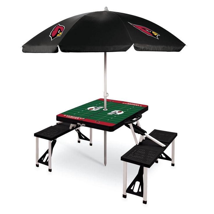 Arizona Cardinals NFL Black Portable Picnic Table with Umbrella