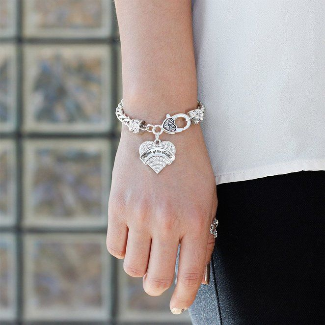 Amazon.com: Silver Bride Pave Heart Bracelet Silver Plated Lobster Clasp Clear Crystal Charm: Jewelry