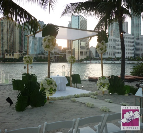 Wedding Ceremony - Bamboo  Chuppah with white and green flowers by Pistils & Petals  https://www.facebook.com/PistilsAndPetals  https://www.PistilsAndPetals.com: Wedding Ceremonies, Green Flowers