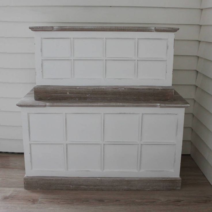 Antiqued White Trunks With Limed Wood Top Set Two