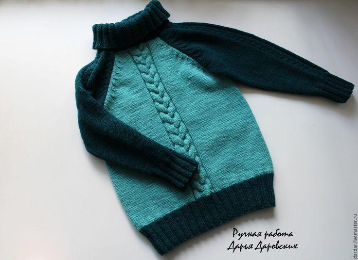 """Купить Детский шерстяной свитер """"Мечтатели"""" - тёмно-зелёный, хвойный, мятный, детский свитер"""