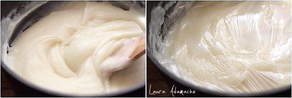 Ingrediente – Crema de lapte cu fructe  200 ml suc de fructe tropicale 800 ml lapte 250 g zahar 150 g faina 25 g amidon de porumb