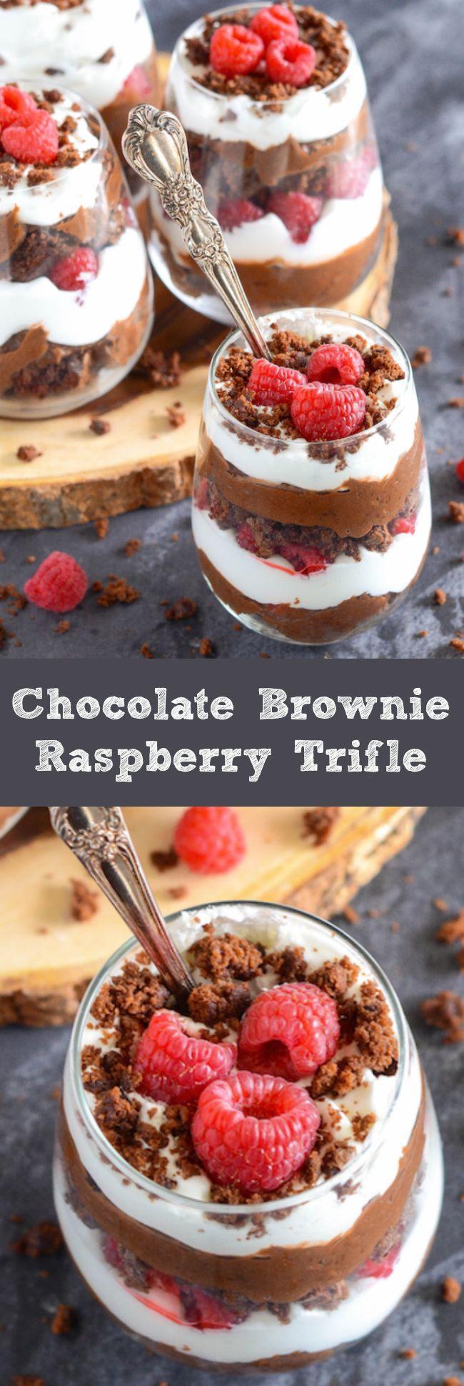 Chocolate Brownie Raspberry Trifle with brownies, chocolate pudding, raspberries and cream!