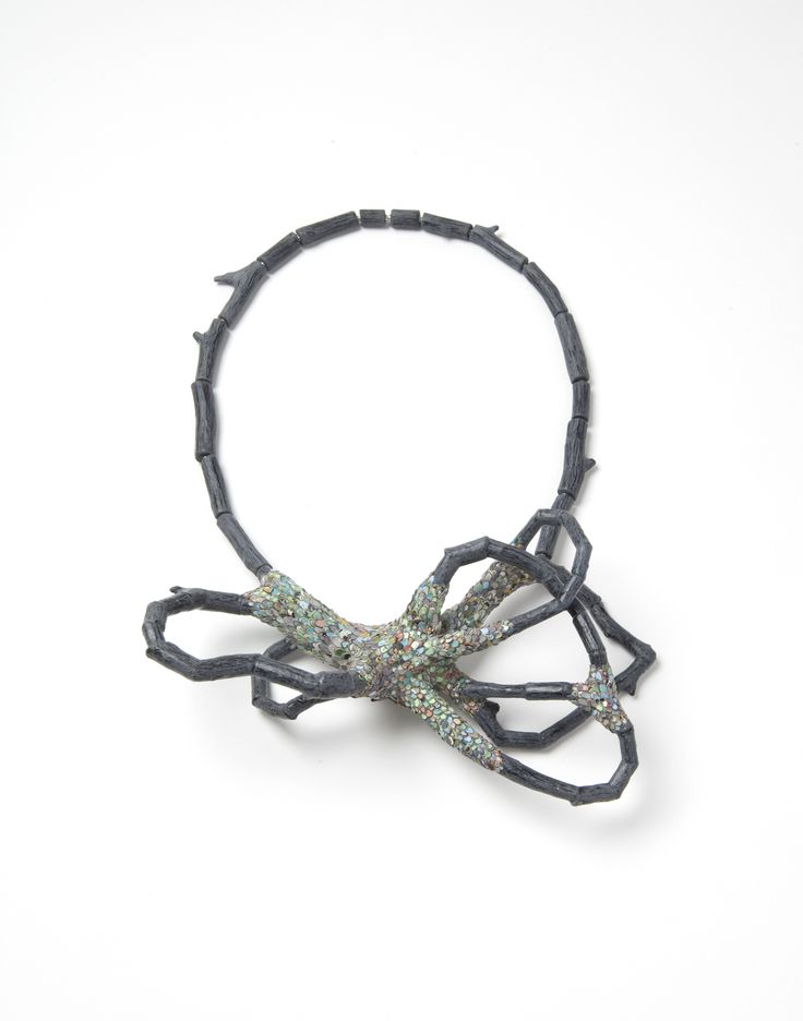 """Carina Shoshtary; Necklace """"Confused Branches 2""""; 2015; Graffiti, wood, silver, steel wire, paint."""