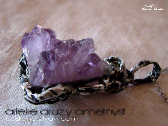 Raw amethyst pendant. amethyst druzy pendant Arielle natural