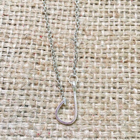Fish Hook Necklace, Silver Hook Necklace, Fishing Necklace, Fish Hook Jewelry, Country Girl Jewelry, Fishing Jewelry, Redneck Girl Jewelry