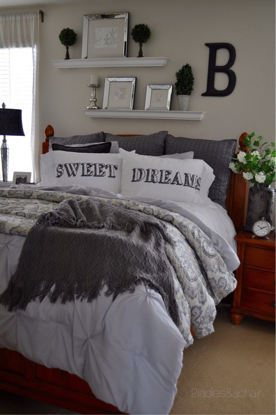 One of the easiest ways to create a cozy bedroom is to use shades of one color and lots of textures! The jumping off point for this bedroom was the HomeGoods grey comforter and sham set. The perfect backdrop for a cozy setting. The plumpness of the comforter adds the needed texture to complete this look. Simplifying the artwork and adding a HomeGoods topiary finishes the relaxed look.Sponsored by HomeGoods