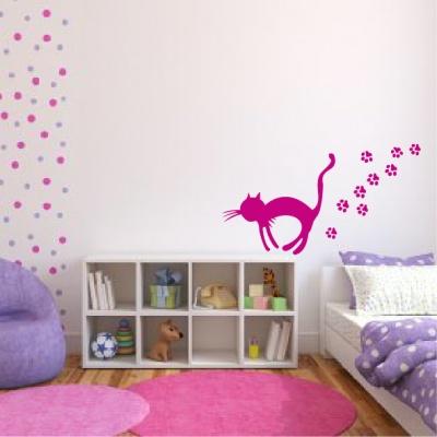 Adhésif mural de chat avec ses traces de pattes