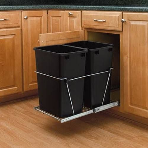 Convert a kitchen cabinet to a 2 trash storage drawer for ...