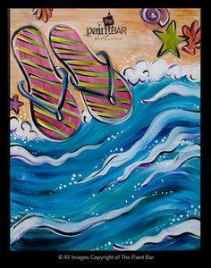 Funky Ocean Flip Flops Painting - Jackie Schon, The Paint Bar