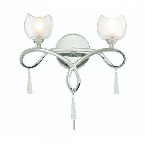 C01-LC1706-2 OPAL GLASS SHADE CURVED CHROME FRAME WALL LIGHT DESIGN
