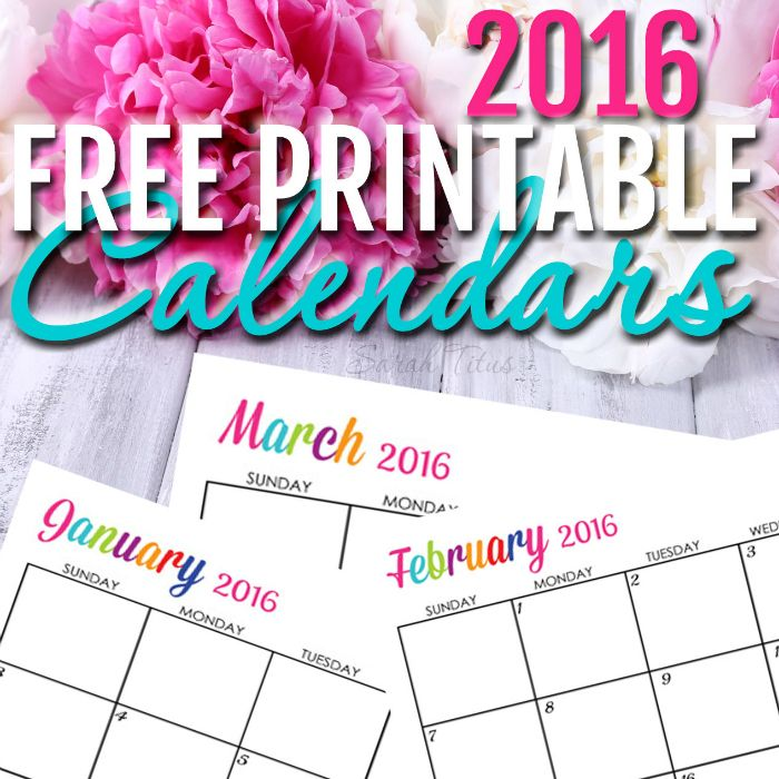 Free 2016 Printable Calendars - Completely editable online!!! Use them for menu planning, homeschooling, blogging, or just to organize your life.