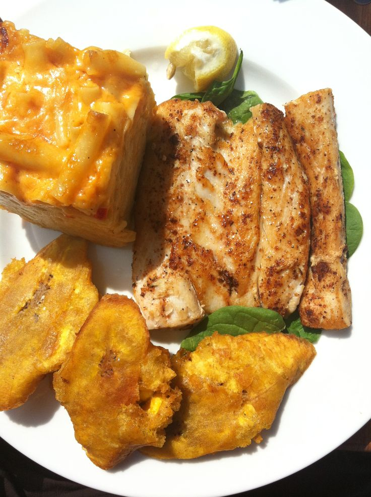Fish of the day, mac & cheese and fried plantains in Turks & Caicos