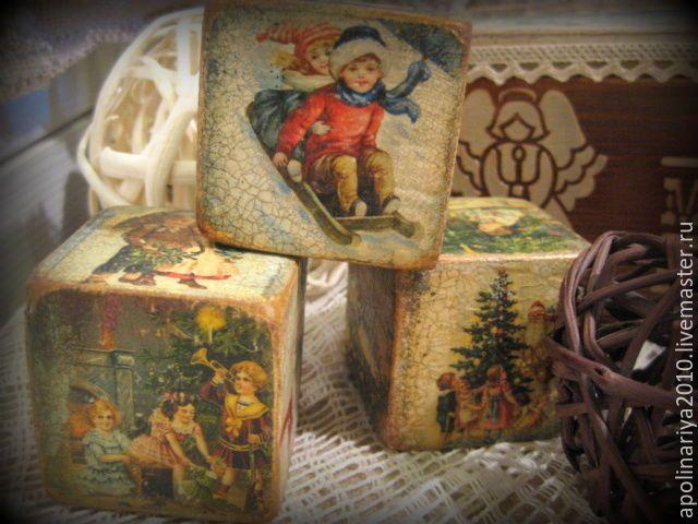 """Купить Кубики новогодние """"Старые открытки"""" - коричневый, кубики деревянные, кубики декупаж, кубики"""
