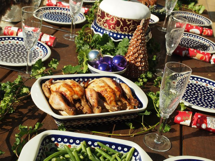 Polish pottery baking dishes and dinner sets from the range at Blue Jasmine just perfect for your Christmas table.