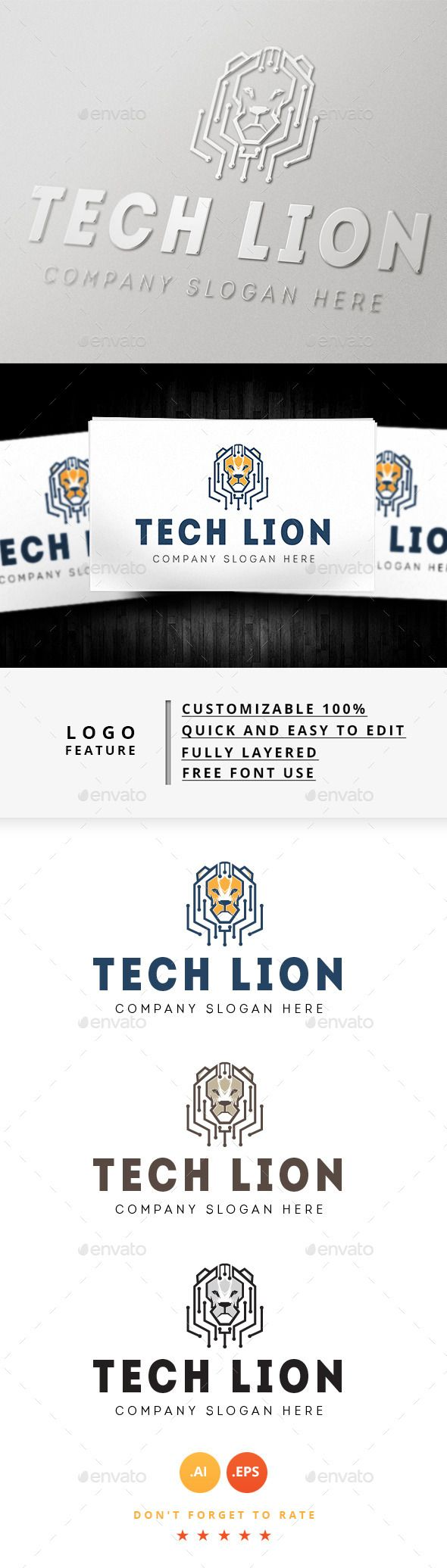 Tech Lion Logo — Vector EPS #brand logo #logo creative • Available here → https://graphicriver.net/item/tech-lion-logo/8932626?ref=pxcr
