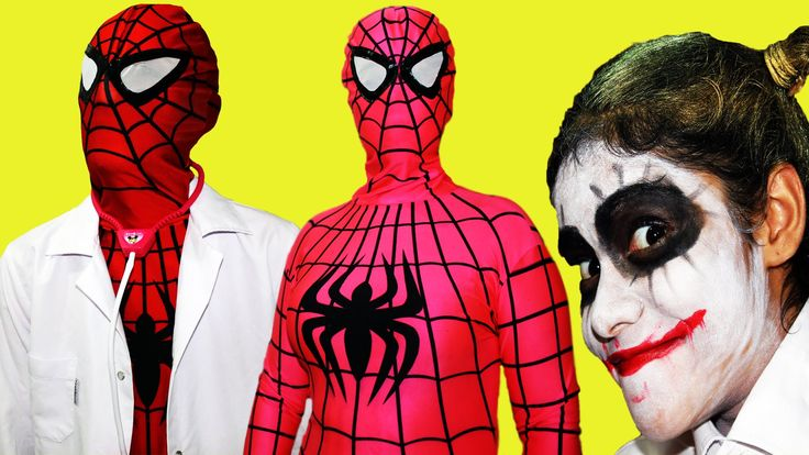 Spiderman Frozen Elsa & Pink Spidergirl w/ Joker!Superheroes in real life