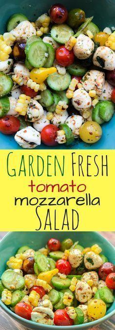 Delicious Garden Fresh Tomato Mozzarella Salad with Corn, Cucumbers and Balsamic Vinegar dressing.