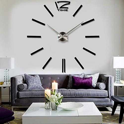 Superbe Modern Acrylic Mirror Metal Frameless Large Wall Stickers Clocks Style  Watches Hours DIY Room Home Decorations (Black)   Choozeezee
