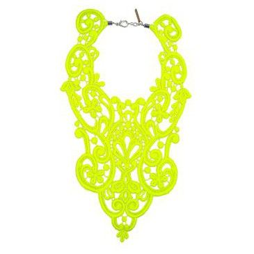 neon yellow crocheted necklace