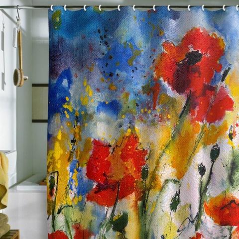 Ginette Fine Art Wildflowers Poppies Shower Curtain