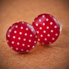 Náušnice pecky - červenobílý puntíček