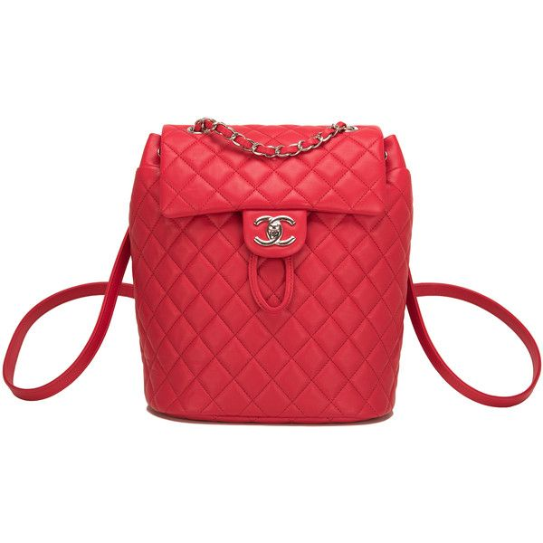 Pre-Owned Chanel Urban Spirit Red Lambskin Small Backpack ($5,250) ❤ liked on Polyvore featuring bags, backpacks, red, colorful backpacks, quilted bags, strap backpack, red backpack and backpacks bags