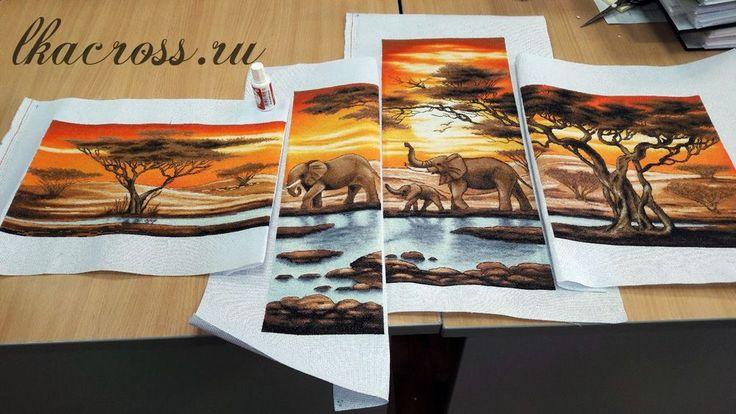 Схема для вышивки крестом Слоны у ручья. Отшив.