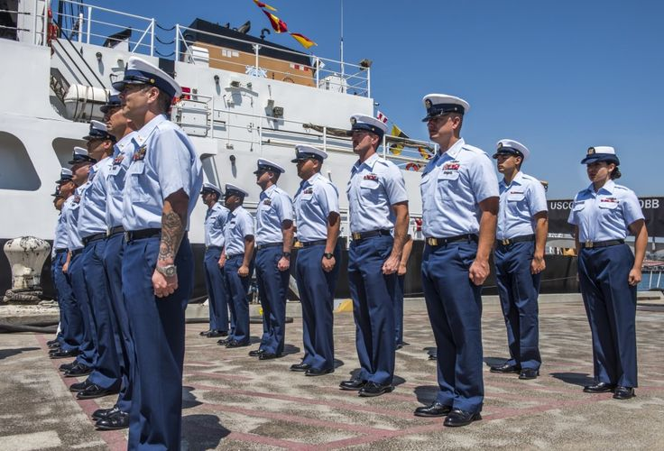 The crew of the Coast Guard Cutter George Cobb stand ready for a uniform inspection prior to the cutter's change of command ceremony held at Coast Guard Base Los Angeles-Long Beach on June 16, 2016. The change of command ceremony is a time-honored tradition, deeply rooted in Coast Guard and Naval history. The event signifies a total transfer of responsibility, authority and accountability of the command.  U.S. Coast Guard photo by Petty Officer 3rd Class Andrea Anderson.