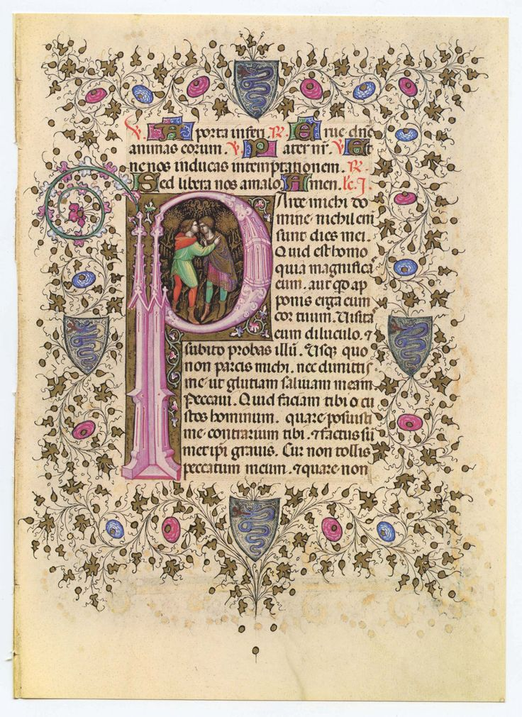 Illuminated Manuscript Page, Bible, Old Testament showing  Moses embracing Aaron enclosed in  Letter P shape. $9.99, via Etsy.