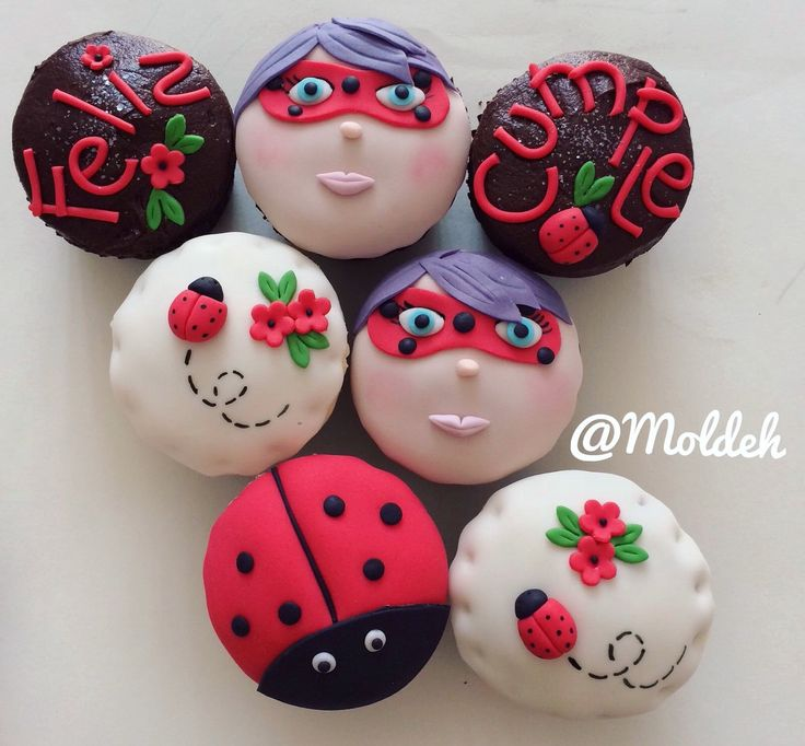 Cupcakes de Súper Catarina para Cumple // Birthday Super Ladybug Cupcakes