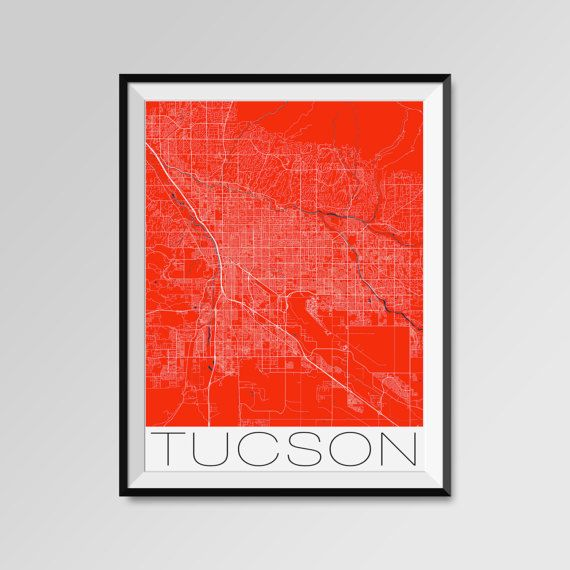Tucson Map Print - Minimalist City Map Art of Tucson Poster - Wall Art Gift - COLORS - white, blue, red, yellow, violet Tucson map, Tucson print, Tucson poster, Tucson map art, Tucson gift  More styles - Tucson - maps on the link below https://www.etsy.com/shop/PFposters?search_query=Tucson