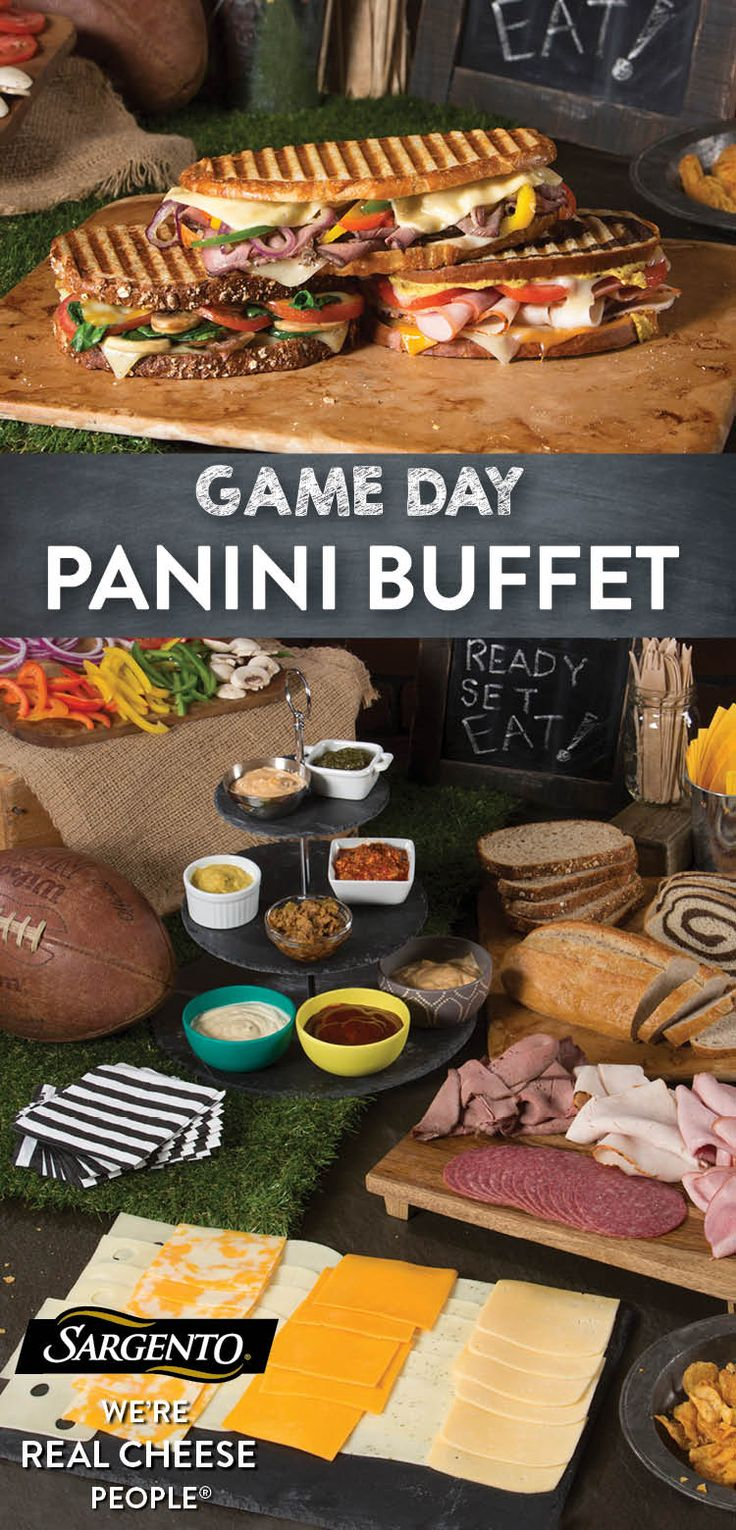 Promoted by Sargento®. Up your Game Day game with a feast that's sure to surprise your guests. When it comes to football party food, you'll want your guests to have a supply of tasty noshes. This buffet combines the snack-like smorgasbord appeal of a buffet with the decadence of hot, gooey Panini. With our vast variety of 100% real, natural cheese slices, which range from traditional flavors like Mozzarella and Sharp Cheddar to innovations like Garlic and Herb Jack, there's no end to the…
