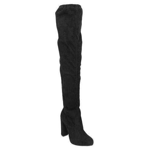 Kozačky nad kolena na podpatku bata, černá, 799-6605 - 13